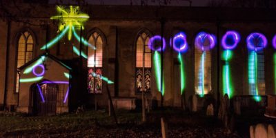 Adventus - projection onto side of St Mary's Walthamstow
